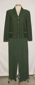 St John Green/Black Tweed-Like Subtle Striped Knit Button Jacket & Pant Suit 12