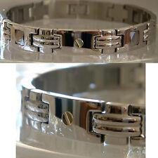 """Men's Tungsten Bracelet, 7"""" 8"""" 9"""" inch, 18K Gold Inlay Screws TB002"""