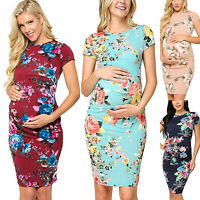 Women Pregnant Floral Maternity Bodycon Slim Fit Casual Short Sleeve Shirt Dress