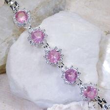 "16Ct Pink Sapphire & White Topaz Victorian Style Silver Bracelet 7"" Gbr235"