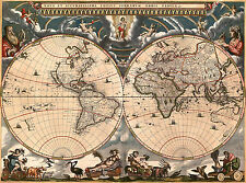 Antique World Map, Old Vintage Map, 1685, Fade Resistant HD Art Print or Canvas