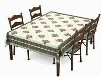 Green & Pink Motif ,Batik Printed Cotton Rectangular Table Cloth For6,Color Vary