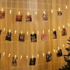 4.3M 16 LED Hanging Picture Photo Peg Clip Fairy String Lights Party Decor Gift