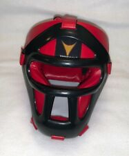 Red/Black ProForce Thunder Vinyl Head Guard w/ Face Shield for Karate/Boxing S/M