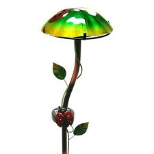 Regal Art Hand Painted Glass Solar Mushroom Stake Light, Ladybug (Model 10344)
