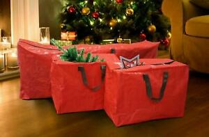 3x Large Heavy Duty XMAS CHRISTMAS TREE Home STORAGE BAG Zip Sack Holder RED NEW