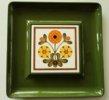 Vintage 70s Serving Tray w/ Tile Avocado Green Orange Cheese Snack Appetizer