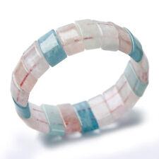 Natural Colorful Morganite Gemstone Rectangle Beads Women Bracelet 20x7mm AAAA