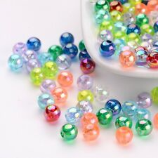 200pcs Mixed Color AB Color Transparent Round Acrylic Beads DIY 5mm hole:1.5mm