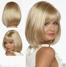 HE-J0331 short straight Blonde mixed hair wig wigs for modern women