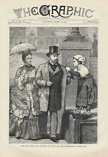 PRINCE AND PRINCESS OF WALES, FLOWER GIRL in ROME - 1872 The Graphic Engraving