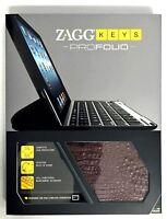 NEW ZaggKeys ProFolio Apple iPad 2/3/4 Gen ALLIGATOR BROWN Case Keyboard Zagg