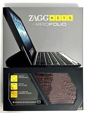 NEW ZaggKeys ProFolio Apple iPad 2/3/4 Gen ALLIGATOR BROWN Case Keyboard Zagg