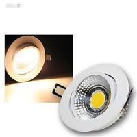 Spots LED encastré blanc chaud 7W COB, Blanc-Aluminium 230V Lampe Encastrée