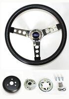 "1970-1973 Mustang Black & Chrome Steering Wheel 14 1/2"" Mounting Kit & Ford cap"