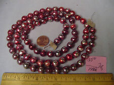"Christmas Garland Mercury Glass Red-Purple 35"" Long 5/16"" Beads #146A Vintage"