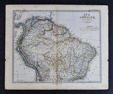 1874 Stieler Map - Brazil Colombia Venezuela Peru Bolivia Ecuador South America
