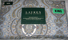 3pc Ralph Lauren Blue, Gray, Tan Paisley Medallion KING Duvet + Pillow Shams Set