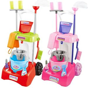 Kids Cleaning Trolley Cart with Mop & Brush Role Play Toy Set Cleaning Tools
