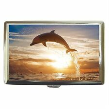 Dolphin Jump At Sunset Stainless Cigarette Money Card Case Box