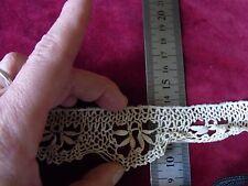 DRG13 Ancien galon dentelle fil de coton 4cmx75cm / Old cotton lace braid