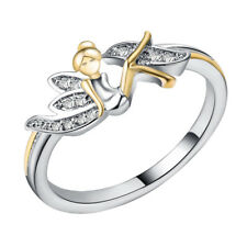 Fashion Women Lady Flower Fairy Angel Ring Silver Tinkerbell Fairy Jewelry Gift