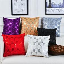 """16"""" Flower Sequins Jacquard Sofa Cushion Cover Throw Pillowcase Car Home Decor"""
