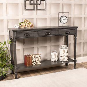 Large Grey Console Dressing Table 3 Drawer Wooden Shelf Storage Hallway Slim