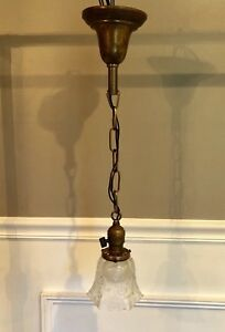 """Single Wired Antique Fixture With Vintage Globe 23"""" Long 53C"""
