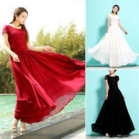 Elegant Plus Size Women Lace Chiffon Swing Pleated Evening Party Long Maxi Dress