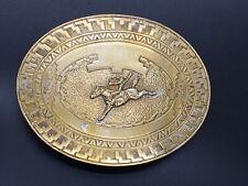 Vintage Crumrine Belt Buckle Bucking Horse Rider Aztec Design Western Cowboy