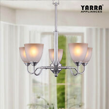 NEW 5LT Classic Chandelier Lamp Light Metal W/ Frosted Glass Modern-Satin Nickel