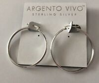 Argento Vivo Sterling Silver Hoop Earrings NEW 1.5