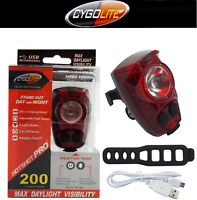 NEW Brightest Cygolite Hotshot PRO 200 Rear Bike Tail Light USB Rechrg upgrd 150