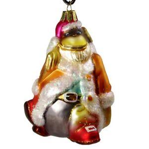HolidayGiftShops Santa Gorilla Glass Christmas Ornament (Orange Robe)