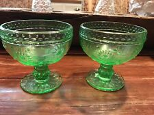 2 Vintage Green Depression Glass Daisy Flower Ice cream Desert Bowls Sherbet