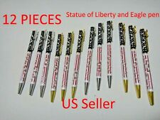 12X-Black Ballpoint pen Statue of Liberty and American Eagle silver / gold clip