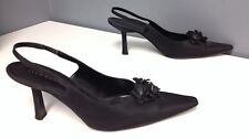 RICHARD TYLER Black Satin Floral Bead Top Accented Slingback Heels Sz 10 B4064