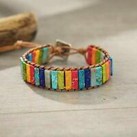 Leather Chakra Jasper Wrap Adjustable Bead Bracelet Wristband Reiki Chakra