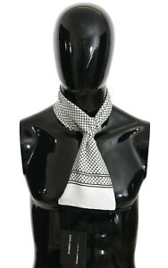 DOLCE & GABBANA Scarf White Baroque Fringes Mens Wrap Shawl 140cm x15cm