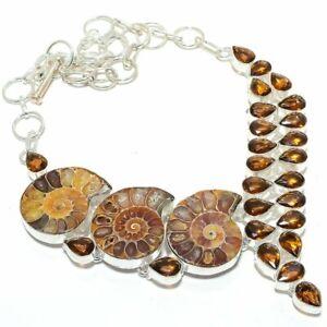"Ammonite Fossil, Smokey Gemstone 925 Sterling Silver Jewelry Necklace 18"""