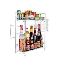 2 Tier Spice Rack Kitchen Bathroom Standing Storage Organizer Spice Shelf Holder
