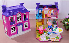 Peppa Pig Purple house Villa with 4pcs figures Girls Kids Children's day gift