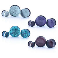 Dichroic Glass Ear Plugs Pyrex Crackle - Blue/Aqua, Pink, Purple & Clear/Silver