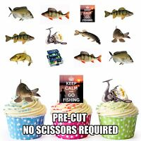 PRECUT Fishing Mix - 36 Edible Cupcake Toppers Decorations Mens Boys Birthday