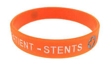 Cardiac Patient - Stents Orange Silicone Wristband Medical Alert ID Bracelet Med