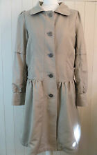 Cute H&M Beige Stone Linen / Cotton Casual Trench Frock Coat 12 Nice Details