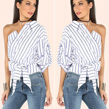 Women's One-Shoulder T-Shirt Blouse Casual Loose Cotton Tops Size 8 10 12 14 16