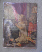 Vintage 1876 Geo Stinson & Co Lithograph Print Young Girl Praying
