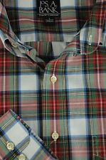 Jos A Bank Men's Red White Green & Blue Green Plaid Cotton Casual Shirt L Large